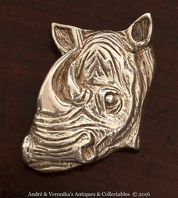African Solid Pewter RHINO Head Necklace Pendant Makoulpa Silver Colour