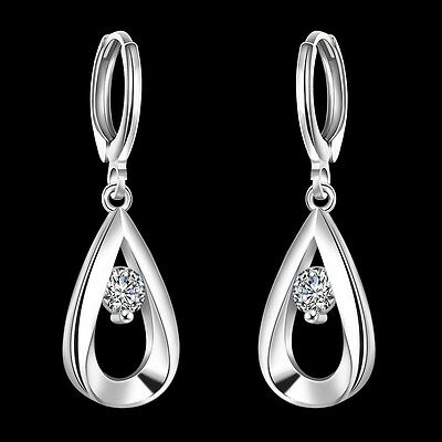 Fashion wedding party Silver 925 charms Crystal women lady Earring Jewelry