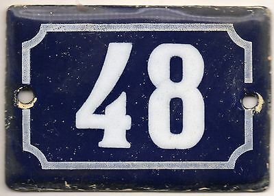 Cute old blue French house number 48 door gate plate plaque enamel metal sign