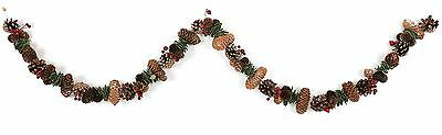 Pinecone Garland With Artificial Glitter Berry And Leaf Christmas Decoration