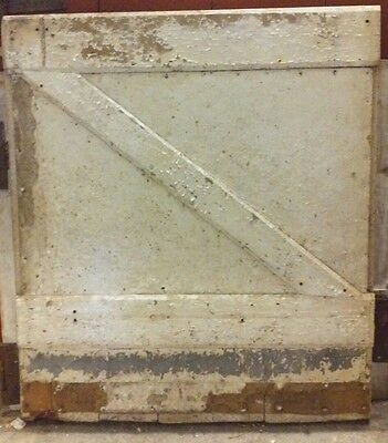 Antique Vintage White Barn Door W/ Hinges Architectural Salvage