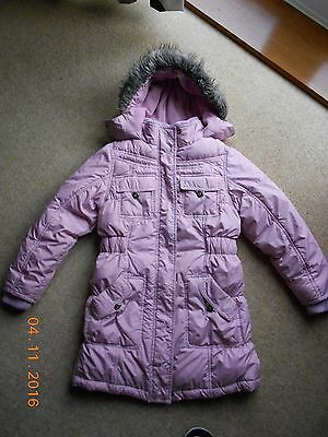 'NEXT' girls pink padded hooded winter coat 9-10 YRS VGC