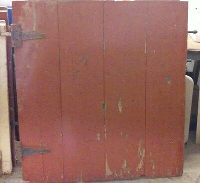 Antique Vintage Red Barn Door W/hinges Architectural Salvage