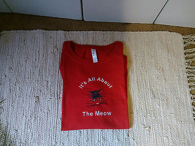 Cat Embroidered Red Ladies Tee