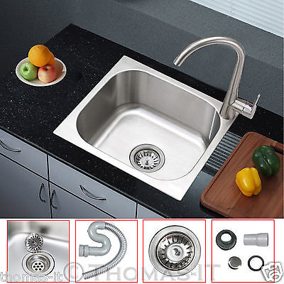 Square Single One Bowl Washing Stainless Steel Kitchen Sink Plumbing Drainer Kit