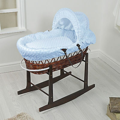 New 4Baby Dark Wicker / Blue Dimple Padded Baby Moses Basket & Rocking Stand