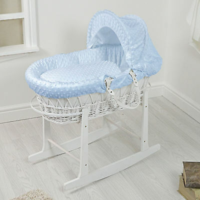 New 4Baby White Wicker / Blue Dimple Padded Baby Moses Basket & Rocking Stand