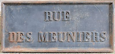 C19th big French street cast iron metal sign Meuniers millers Lille city centre