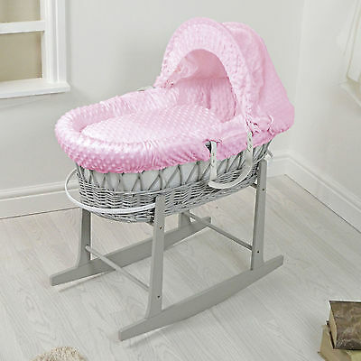 New 4Baby Grey Wicker / Pink Dimple Padded Baby Moses Basket & Rocking Stand