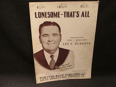 Lonesome-That's All Frank Munn 1945 Sheet Music by Ben Bradley & Lee Roberts