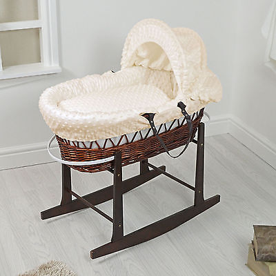 New 4Baby Dark Wicker / Cream Dimple Padded Baby Moses Basket & Rocking Stand