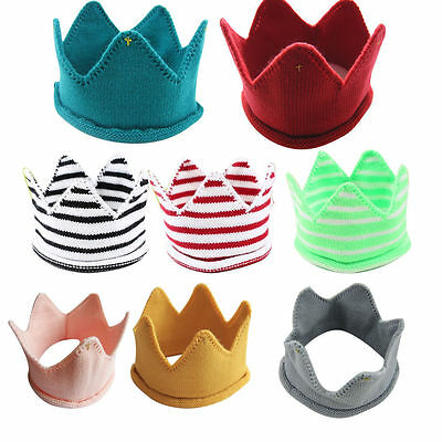 Comfy Newborn Toddler Baby Infant Knitted Crown Hair Hat Soft Knit Handmade Cap