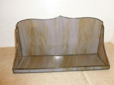 Vintage Hand Crafted Purple Hued Slag Stained Glass Vanity Dresser Tray W Back