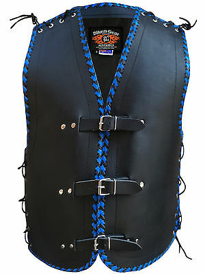 Mens Motorcycle Club Buckle Vest 3Mm Thick Cowhide Leather Blue/black Braiding
