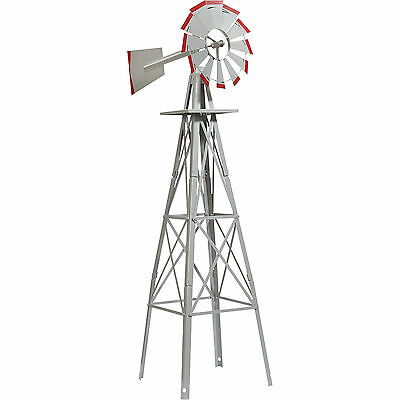 4ft. Ornamental Decorative Garden Windmill  - Galvanized with Red Tips