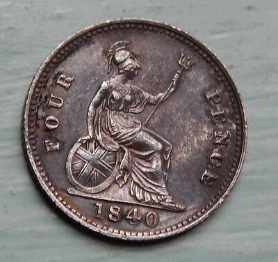 Fourpence Groat Victoria 1840 EF Beautiful Black Tone