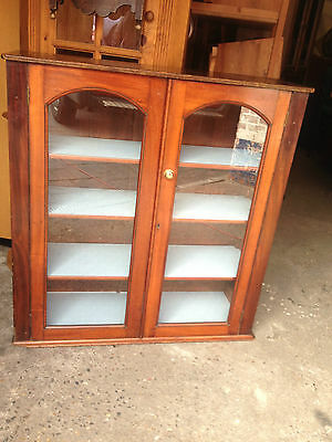 Antique Glazed Mahogany 2 Door Bookcase with 4 Adjustable Shelves  Vintage