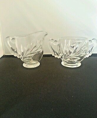 Vintage INDIANA GLASS OLEANDER WILLOW Cream And Sugar SET