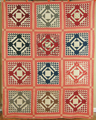 VIBRANT Vintage Diamond in a Square Ocean Waves Antique Patchwork Quilt ~IOWA!