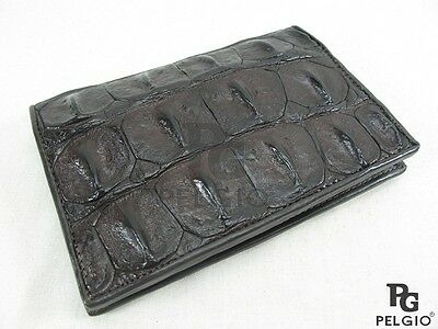 PELGIO Genuine Crocodile Alligator Skin Leather Passport Holder Wallet Brown