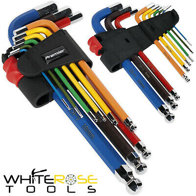 Sealey Premier 9pc Colour Coded Long Ball End Hex Allen Key Set 1.5-10mm Metric