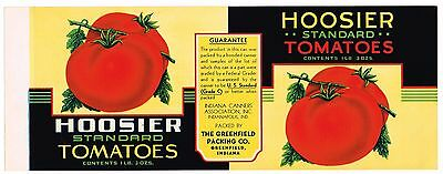 Can Label Vintage 1940S Rare Tomatoes Greenfield Indiana Hoosier Brand Original