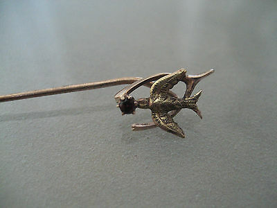 Antique Wishbone & Bird 10 K Pink And Yellow Gold With Tourmaline Stick Pin