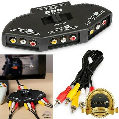 Fosmon 3 Port AV Composite RCA Selector Box Switch Splitter w/ Cable Cord Plug