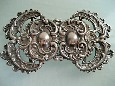 Antique William Kerr Art Nouveau Sterling Silver Belt Buckle