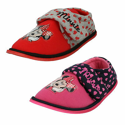 22be1c2a31575 Filles Disney Minnie Mouse Skateur Pantoufles Rose ou Rouge Riptape Chausson