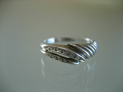 Vintage Russian Sterling Silver & White Sapphire  Ring  Size 7