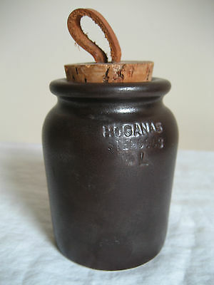 Vintage Hoganas Keramik Stoneware Jar With Leather & Cork Stopper Made In Sweden