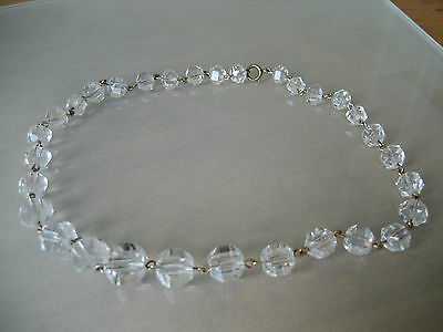 Vintage  Faceted Rock Crystal  Bead Necklace On Gold Chain