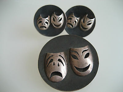 Vintage Silver Mexican Drama Mask Brooch & Screw On Earring Set C. 1940's