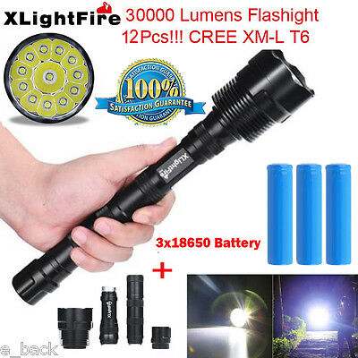 XLightFire 30000Lumen 12xCREE XML T6 LED Flashlight 5 Modes Torch+Battery UK