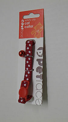PetFace Red Silver Dots Safety-Clip Cat Collar with Bell FREEPOST