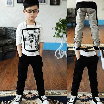 Kid Boy Children Sports Boys Casual Cotton Pants Toddler Trousers Clothes 2-7Y