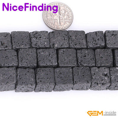 """Natural Cubic Spong Black Lava Rock Square Stone Beads For Jewelry Making 15""""DIY"""