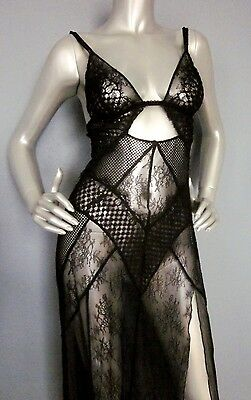 $118 Victorias Secret Very Sexy Limited Edition Fishnet Lace Long Slip Gown S