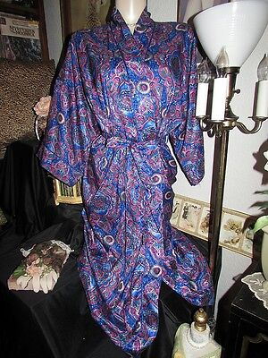 vtg Miss Dior Jewel Tone Paisly Liquid Satin Wrap Dressing Gown Robe Lingerie S