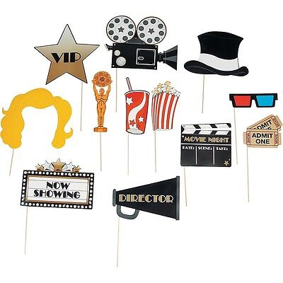 12 Paper Movie Night Photo Booth Stick Props Grammys Oscar Golden Globes Party