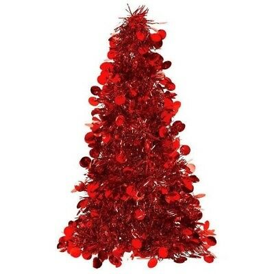 "Tinsel Christmas Tree 10"" Red"
