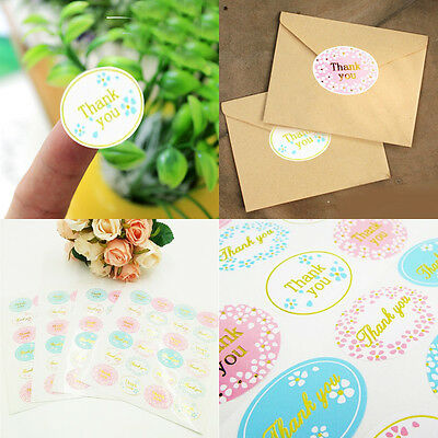 "120X Hot Oval Multi-Color ""Thank You"" Adhesive Seal Sticker Label Envelope Decor"
