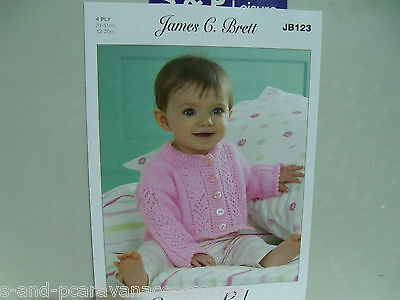"James C Brett Knitting Pattern JB123 - Baby Cardigan in 4Ply ( 12 - 20"" )"