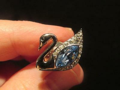 Swan with Blue & Clear Crystals Swarovski Lapel Pin with Box & Certificate