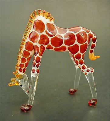 STOOPING Glass GIRAFFE Reddy Brown Painted Coloured Glass Ornament Animal Gift