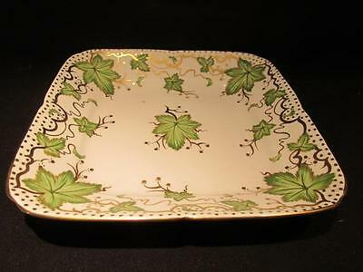Royal Chelsea Vintage Square Serving Plate Green Ivy Leaves & Gold Dots 426a