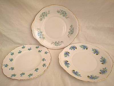 Vintage China Lot of 3 Blue Floral Themed Cake Serving Plates