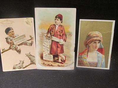 Quackery Medicinal Elixirs 3 Victorian Trade Cards Turk, Pierrot & Dr Thomas
