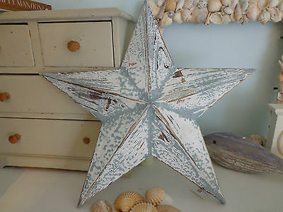 STAR, SHABBY CHIC PAINTED DISTRESSED WOODEN STAR DECORATION...Lovely item!!